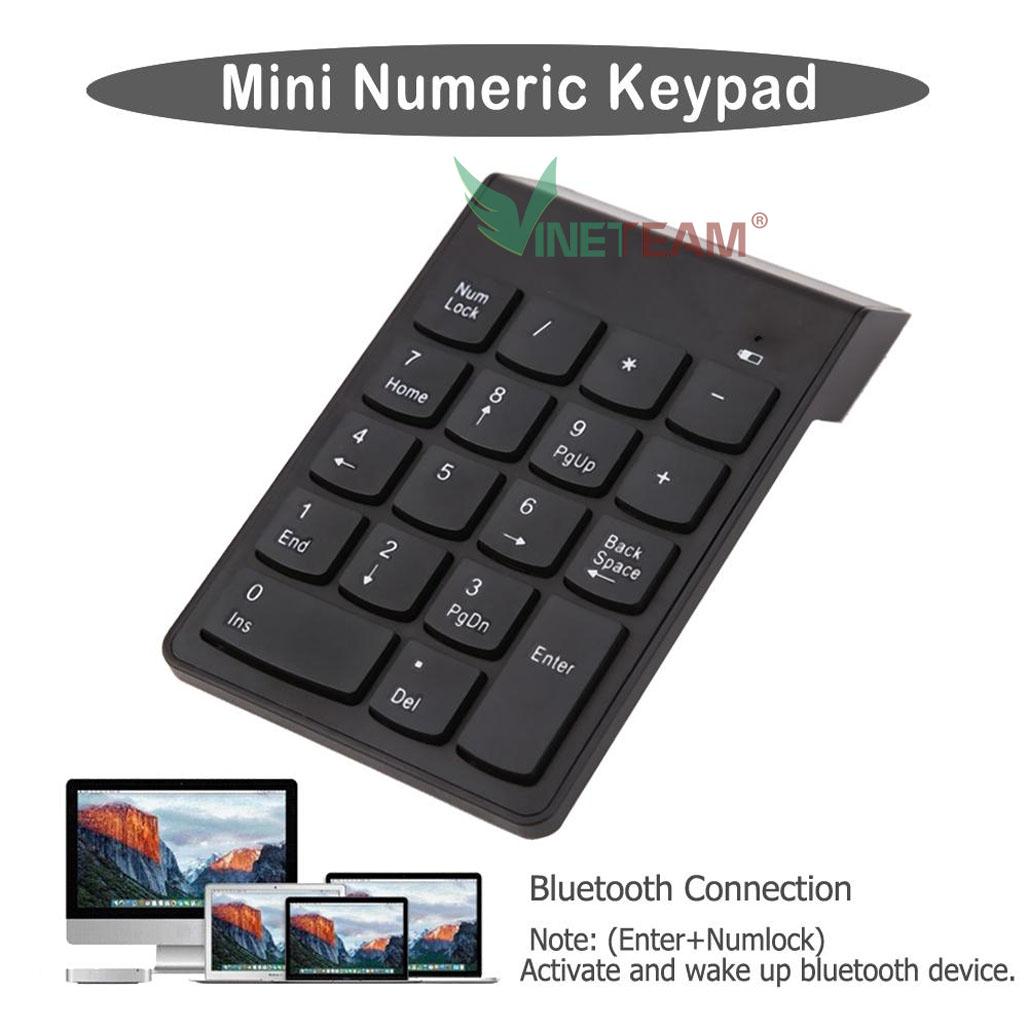 Bàn phím số rời không dây  Wireless 2.4 GHz  18 phím cơ bản dùng cho Mac Book Air/Pro, laptop, điện thoại -dc4472