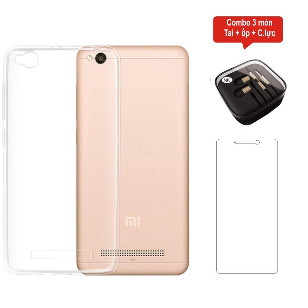 Combo kính cường lực + ốp lưng silicon trong suốt + tai nghe dành cho Xiaomi Redmi 4A - 3438382 , 643764878 , 322_643764878 , 65000 , Combo-kinh-cuong-luc-op-lung-silicon-trong-suot-tai-nghe-danh-cho-Xiaomi-Redmi-4A-322_643764878 , shopee.vn , Combo kính cường lực + ốp lưng silicon trong suốt + tai nghe dành cho Xiaomi Redmi 4A