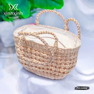 Túi cói, giỏ xách cói họa tiết vuông đan