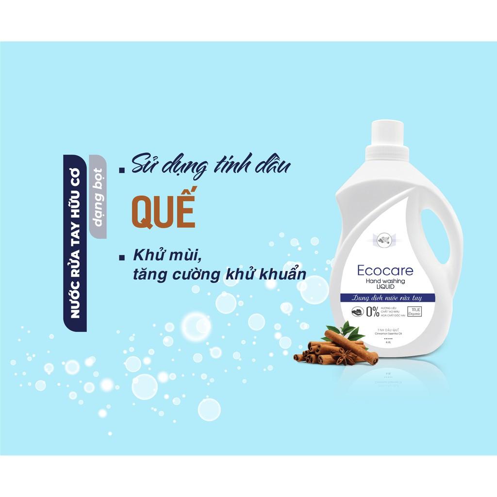 Nước rửa tay tạo bọt Hữu cơ 4000ml, Nước rửa tay diệt khuẩn tinh dầu tự nhiên Ecocare [Tặng vỏ tạo bọt]