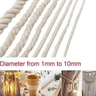 1/2/3/4/5/6/8/10mm Diameter Beige Cotton Rope Twisted Cord Craft Macrame Cord Art Craft String DIY Handmade Tying Thread