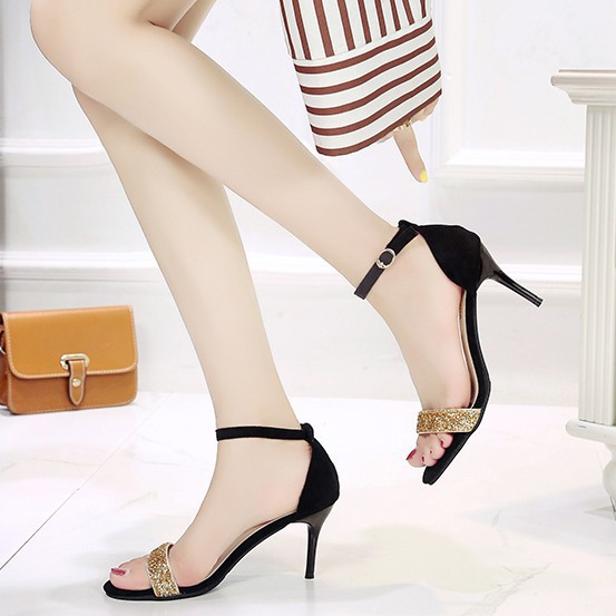 🌺Giày Sandal Cao Gót QC35 Gót Nhọn  Khóa Cài Cổ Chân  Quai Ngang Đính Đá  Kiểu Dáng Nữ Tính Sang Trọng  Thời Trang 2019