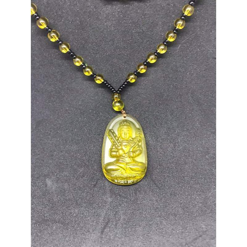 Dây chuyền Phật Hư Không Bồ Tát đá lưu ly vàng Độ Mệnh Tuổi Sửu-Dần