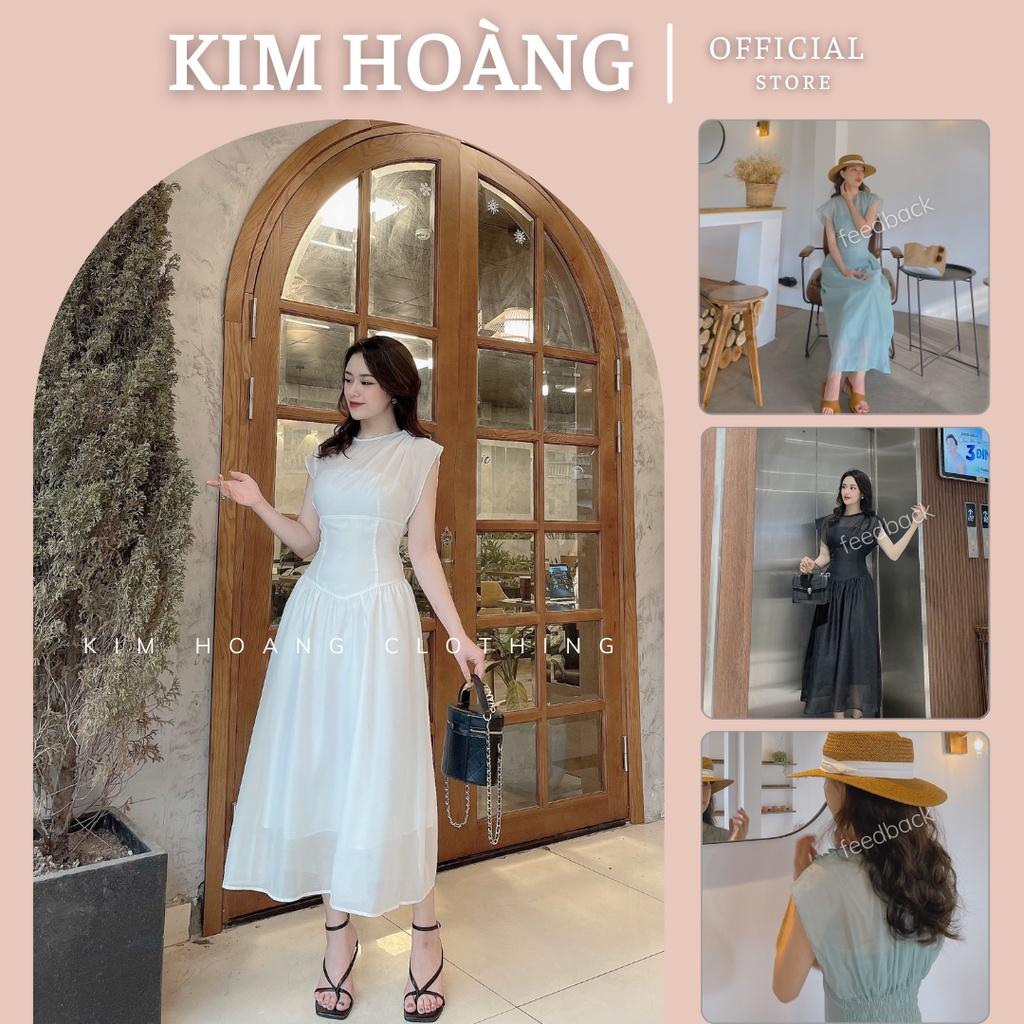Mặc gì đẹp: Sang chảnh với Đầm dự tiệc Kim Hoàng đi tiệc cưới xòe ngắn tay ôm eo body cao cấp (Hàng Thiết Kế)