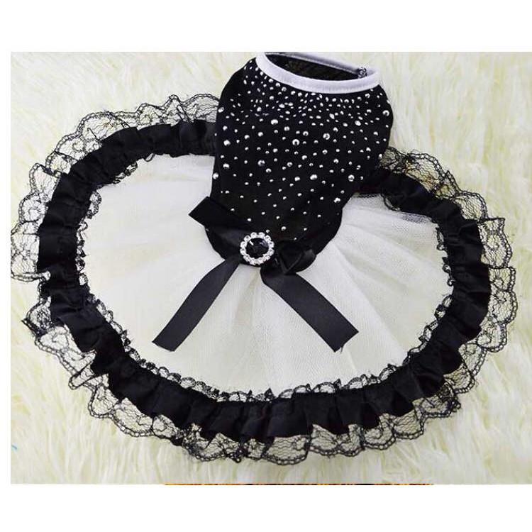 [HÀNG MỚI]  Váy ren đá đen trắng dành cho thú cưng   Top Bán Chạy