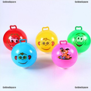 Inflatable Hopping Jumping Ball Bouncer Hopper Handle Kids Outdoor Fun Beach Toy [GoldenSquare]