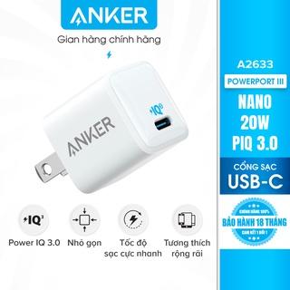 Sạc ANKER PowerPort III Nano 20W 1 cổng USB-C PiQ 3.0 tương thích PD - A2633 thumbnail