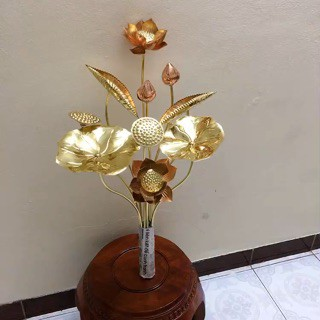 1 bó hoa sen đồng vàng pha đồng đỏ 10 bông