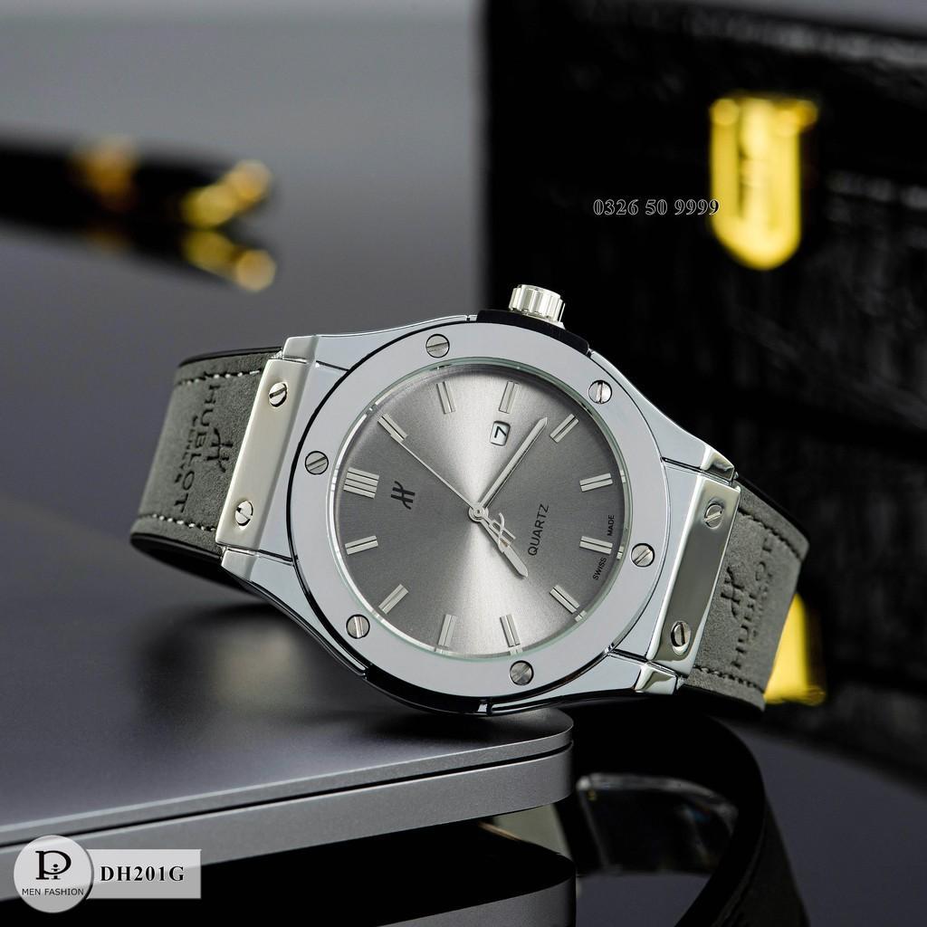 Đồng hồ nam HBL-42 mặt trơn dây da thơm cao cấp fullboxx bảo hành 12 tháng
