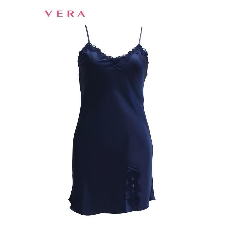 Đầm ngủ ren VERA cao cấp 7163 (Xanh đen)