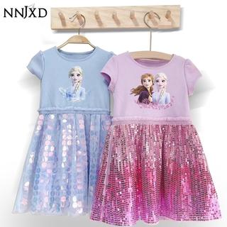 NNJXD Đầm tutu kiểu công chúa họa tiết Elsa trang trí kim sa sành điệu cho bé gái