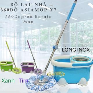 Bộ lau nhà 360 độ Asia Mop X7 rổ Inox Chính Hãng-