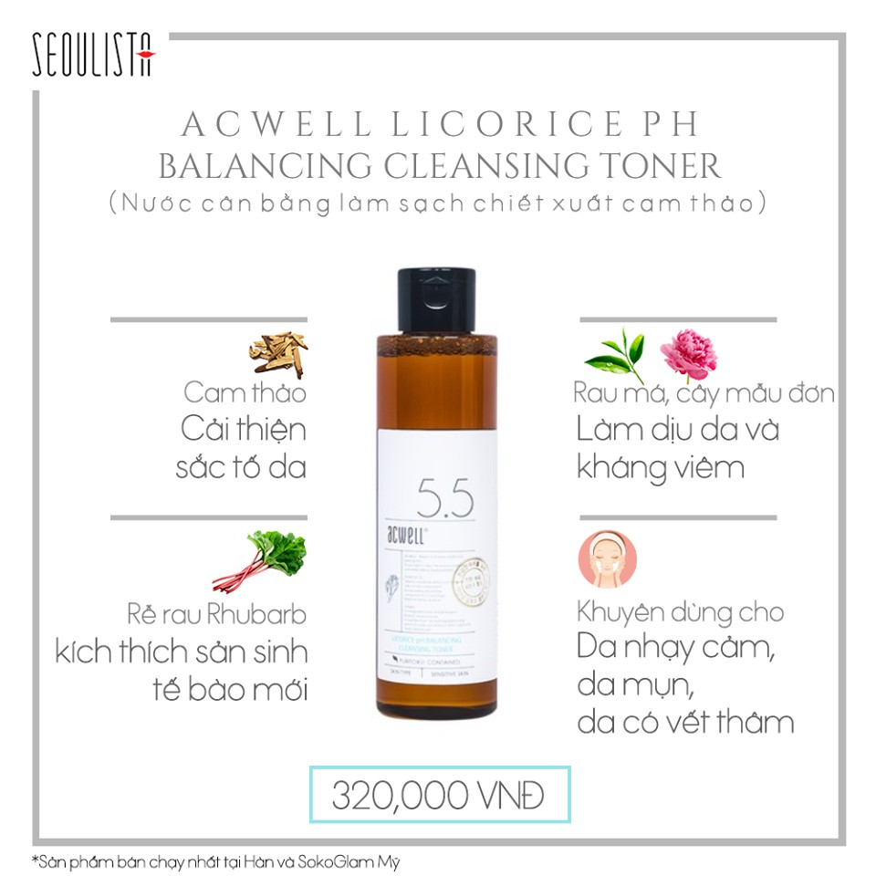 Toner Cam thảo ACWELL LICORICE PH BALANCING CLEANSING TONER