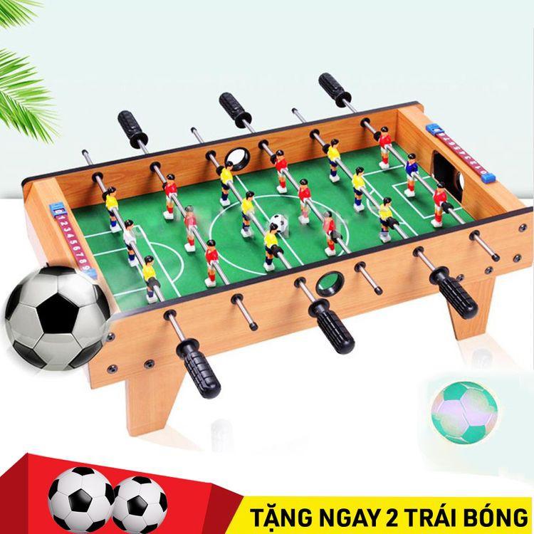 Tặng 2 bóng – Bàn bi lắc bóng đá 6 tay bằng gỗ, bàn chơi đá bóng, bàn bi lắc mini
