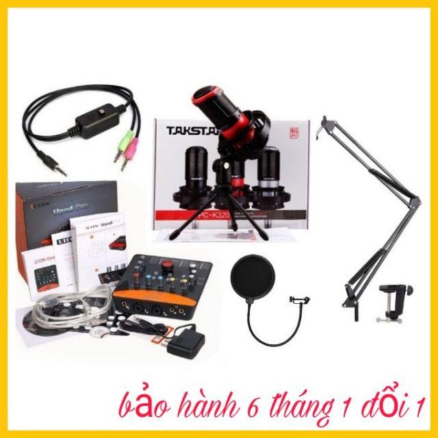 Bộ livestream takstar PC-K320, card Upod.Pro icon, dây live MA2, màng lọc âm chân kẹp míc, BH 6 thán