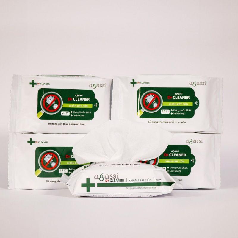 [Mã 267FMCGSALE giảm 8% đơn 500K] Combo 5 Gói khăn ướt cồn Agassi Dr. Cleaner