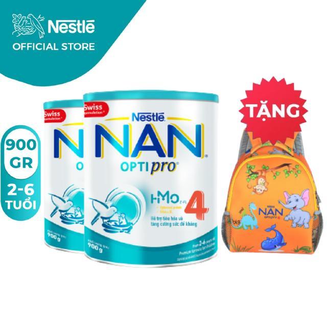 Combo 2 Lon Sữa Bột Nestle NAN Optipro 4 (900g/hộp) [Tặng 1 Balo Con Voi]