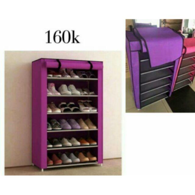 tủ giày 6 tầng trơn có vải bọc kéo khóa phủ