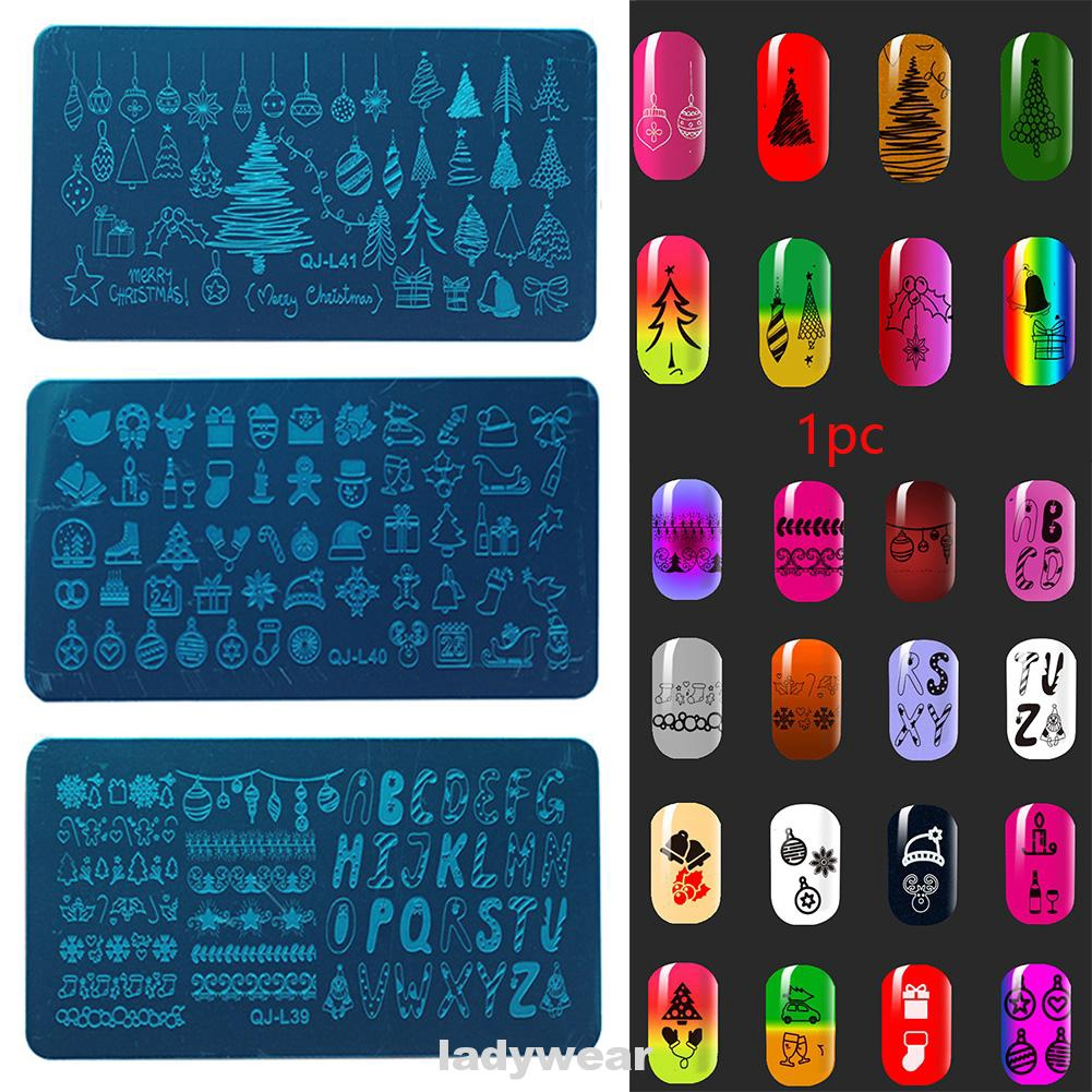 Stamping Plate Christmas Theme Nail Art DIY Manicure Tool Scraper Image Stencil