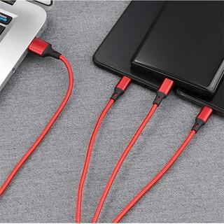 Cáp sạc 3 đầu đa năng KLH 3D, dây sạt nhiều đầu dọc dù chống đứt iphone micro typec dài 1m 2