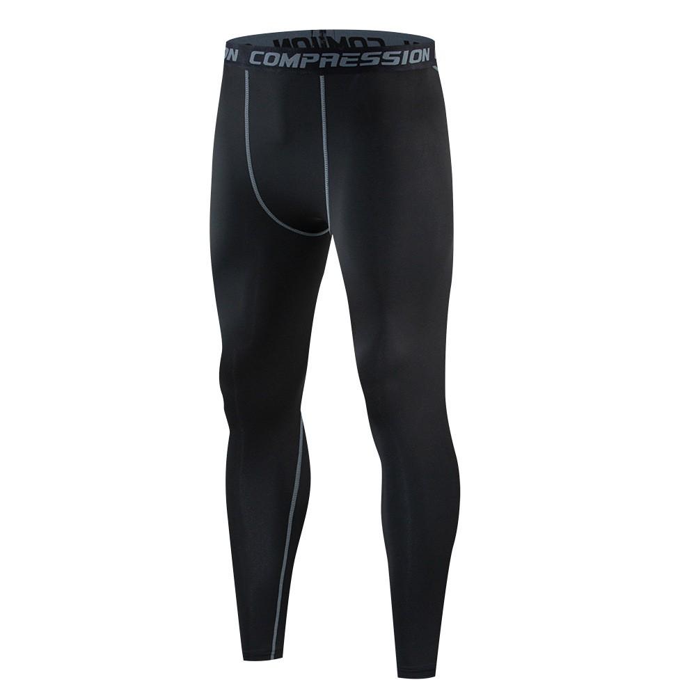 Quần Legging nam GYM - Quần bó giữ nhiệt thể thao nam - Quần Dài Đen sọc xám (CK001XAM)
