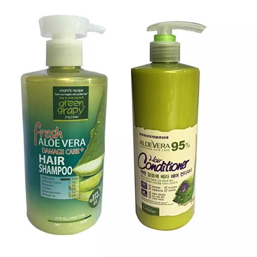 Bộ gội xả cho tóc hư tổn từ nha đam Green Graphy 500ml