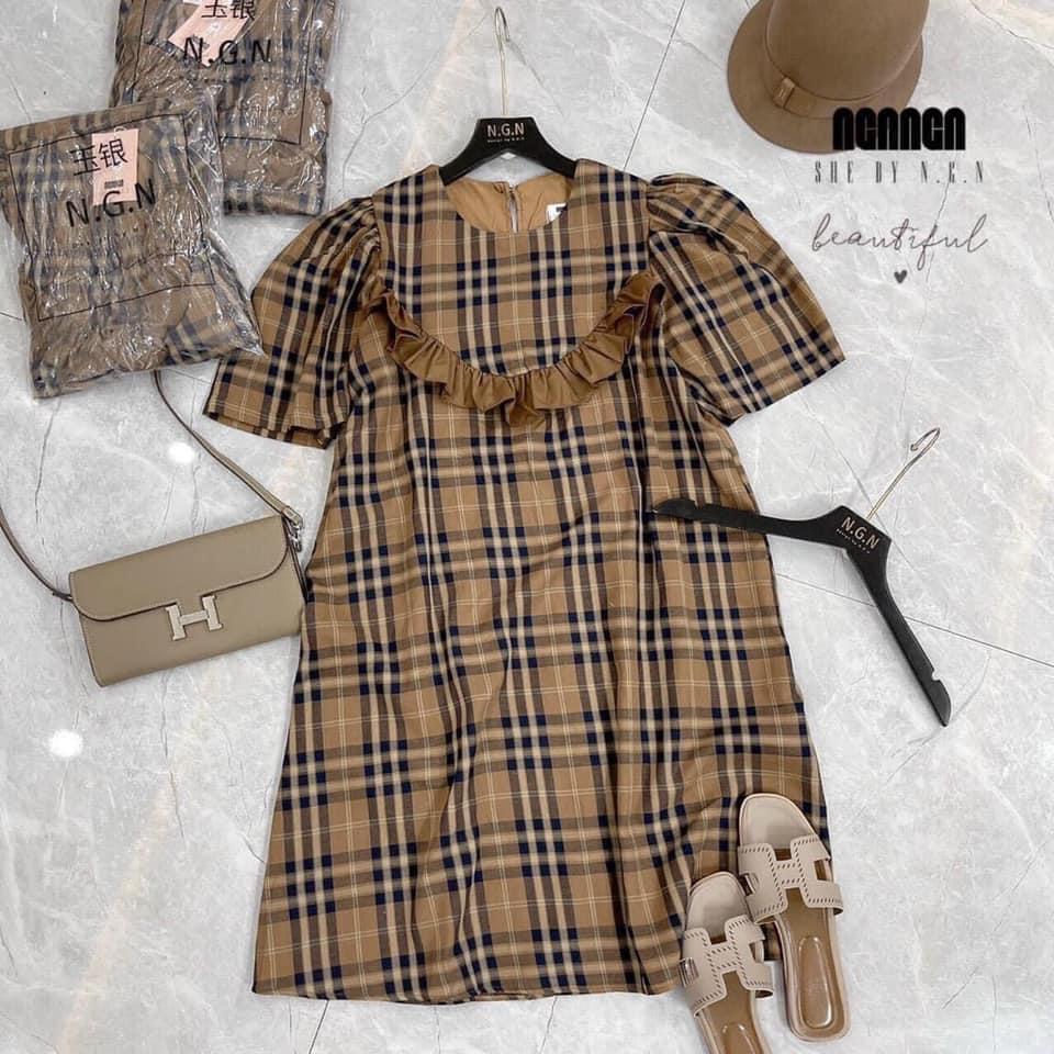 Mặc gì đẹp: Dễ chịu với Váy Bầu Hè Kẻ Caro Màu Nâu Cổ Bèo Dáng Suông HD2830 Honey Mommy Đầm Bầu Công Sở Ngắn Tay