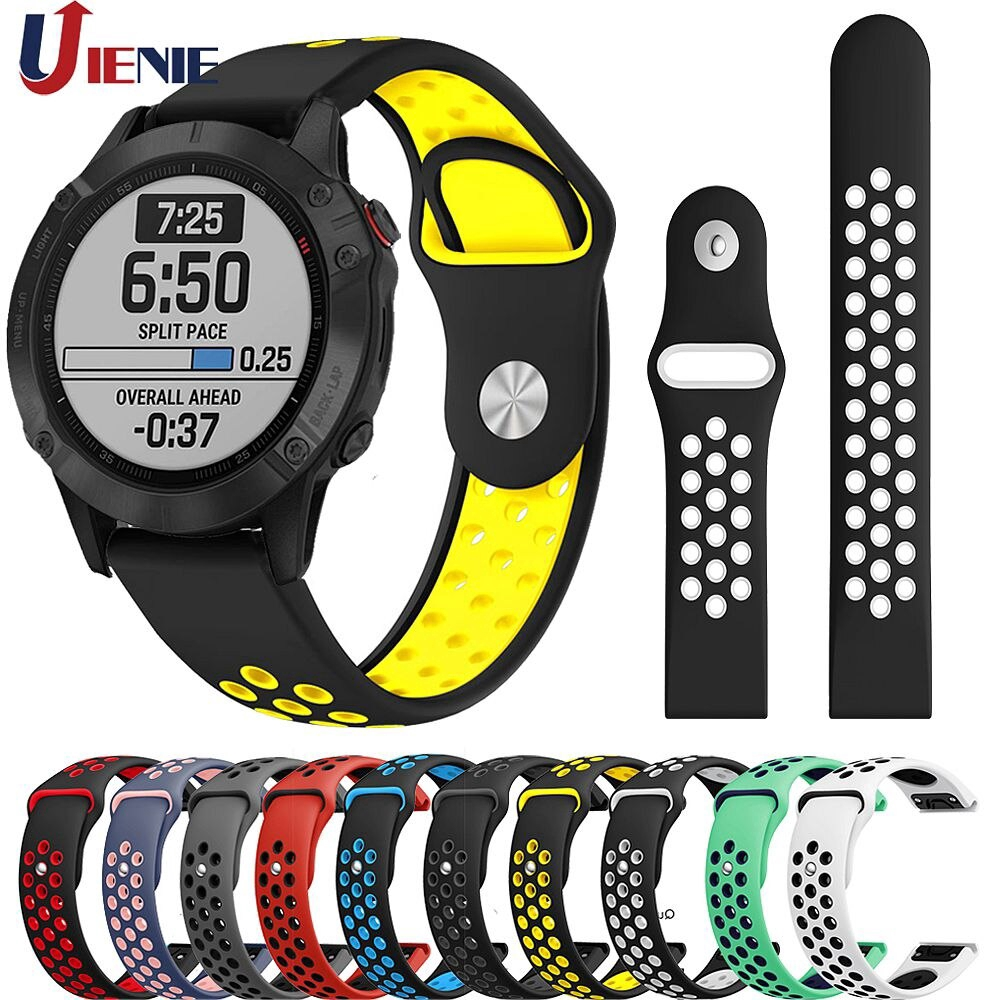 22mm Silicone Strap Quick Release Watchband for Garmin Fenix 6/6Pro/5/5Plus/Approach S60