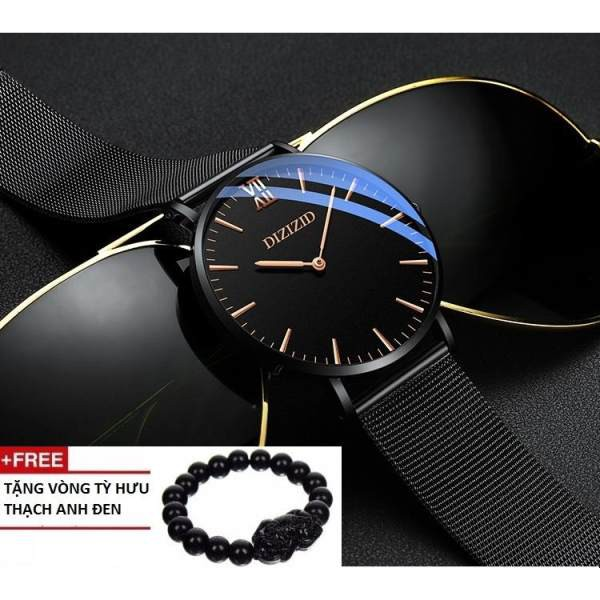 [Tặng Vòng Tỳ Hưu + Pin Thay Thế  + Hộp] Đồng hồ nam mặt Original siêu mỏng dây thép lụa đen cao cấp DIZIZID DZ01