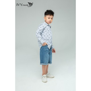 [Mã WABRS50 - 10% - ĐH từ 250K]_Áo sơ mi bé trai dài tay họa tiết IVY moda MS 17K1113 thumbnail