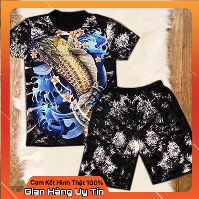 Bộ quần áo nam 3D cá chép xanh chất thun lạnh[FREESHIP+Tặng Vòng] - Bộ hè