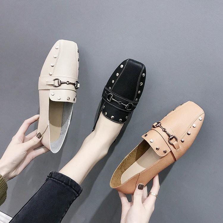 【จัดส่งฟรี】ใบไม้ผลิปี 2019 ใหม่เกาหลีรองเท้าแบนขี้เกียจป่าถั่วรองเท้าผู้หญิงสังคม