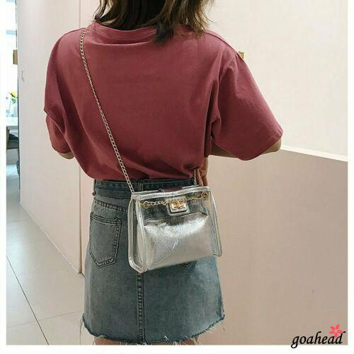 Mu♫-Womens Transparent Shining PVC Clear Jelly Bag Tote Casual Handbag Messenger
