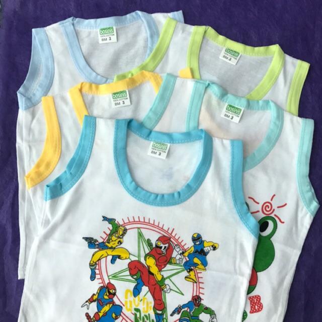 Set 5 áo thun ba lỗ trắng viền màu bosini