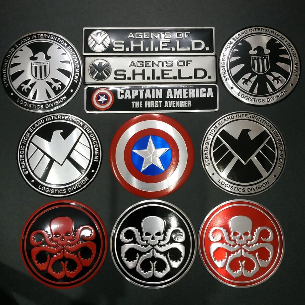 Tem Nhôm tròn 7.5cm Captain - Hydra - S.H.I.E.L.D siêu chất
