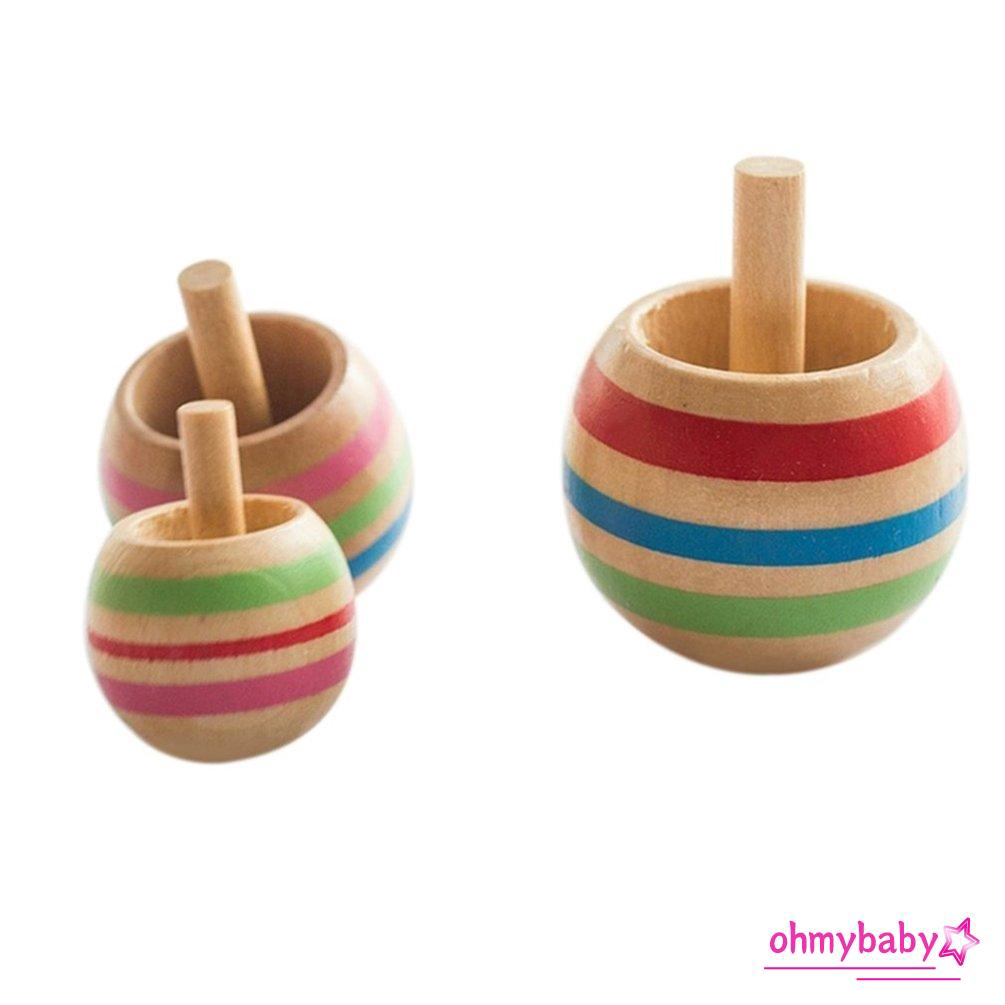 Bộ 3 con quay đồ chơi bằng gỗ in nhiều màu sắc dễ thương cho bé