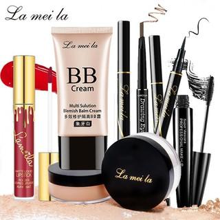 Bộ trang điểm La Mei La Kem BB che khuyết điểm + Phấn phủ bột + Chì kẻ mày + Bút kẻ mắt dạ + Mascara + Son kem BB-10