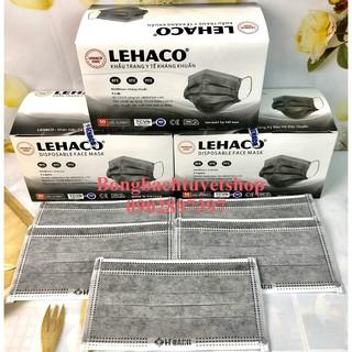 Khẩu trang Y tế Lehaco 4 lớp Màu Xám kháng khuẩn 50 cái hộp - Khẩu trang Lehaco kháng Khuẩn thumbnail