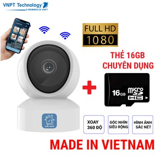 Camera IP Wifi VNPT Technology ONE HOME HVIP01 xoay 360 quan sát rõ ngày và đêm kèm thẻ 16Gb hàng Việt Nam thumbnail