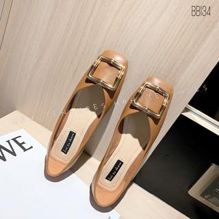 Bệt nữ HHS lì mũi vuông khoá đồng cong Hà Huyền Shoes - BB134