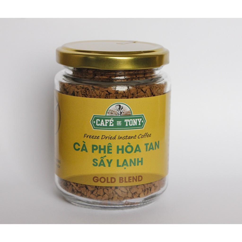 Cà Phê Hòa Tan Sấy lạnh Nguyên Chất 100% - Café De Tony Gold Blend - Hũ 60 gam