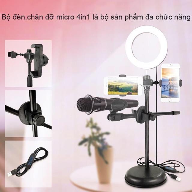 Bộ đèn live stream 4 in 1 đa năng có 2 giá đó điện thoại 1 đèn và 1 cắm mic- đèn dùng cho live stream tiện lợi