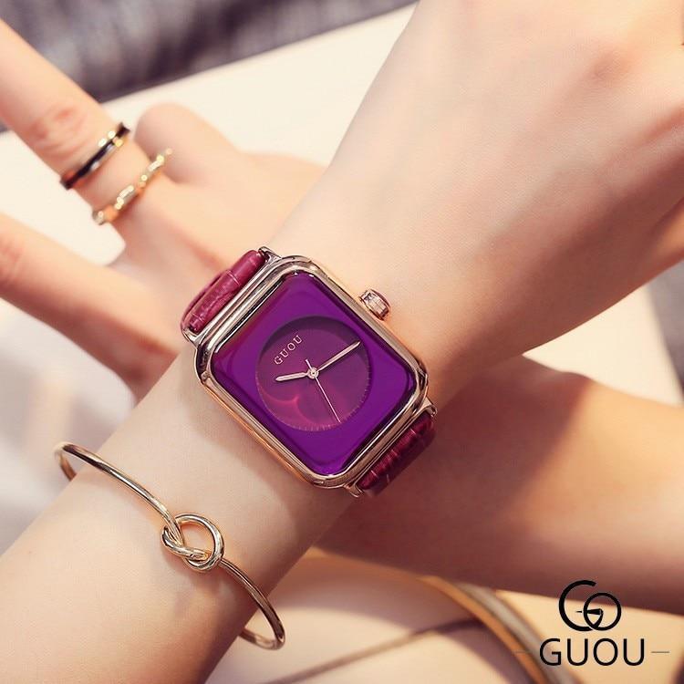 Đồng hồ nữ G u o u 8162 dây da hàng chính hãng cao cấp - phụ kiện thời trang nữ