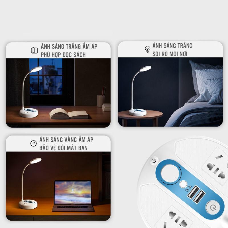 Đèn Led Để Bàn Sạc Pin Tích Hợp 2 Đầu Ra USB Và 2 Ổ Cắm Điện Có Công Tắc Điều Chỉnh Ánh Sáng