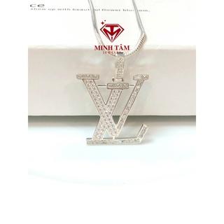 Bộ dây chuyền LV bạc ta nạm đá cho nam,Mặt dây chuyền LV bạc ta-Minh Tâm Jewelry