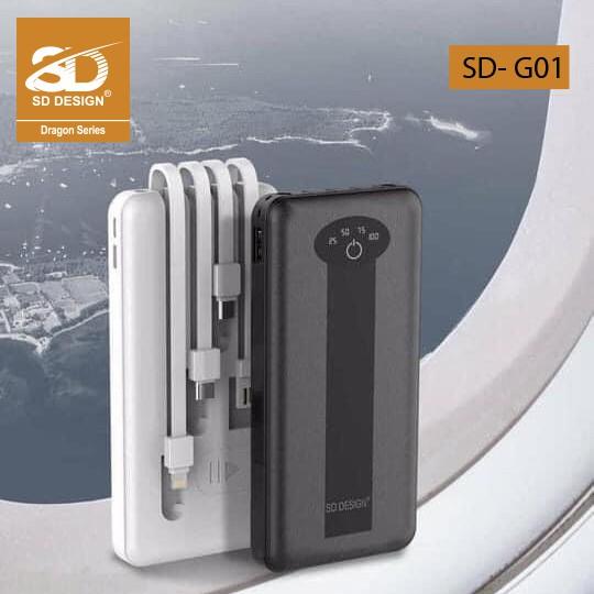 Sạc Pin Dự Phòng Đa Năng G01 10.000 mAh  Tích Hợp 4 Cáp Sạc siêu tiện lợi - Bảo hành 12 tháng chính hãng SD Design