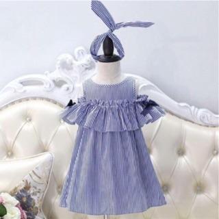 Đầm bé gái hở vai sọc xanh kèm băng đô