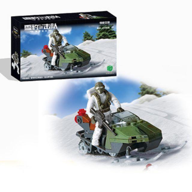 Minifigures Lắp Ráp Lính Commando Lái Xe Trượt Tuyết - Snow Scout XJ-989 ( 96 Mảnh )