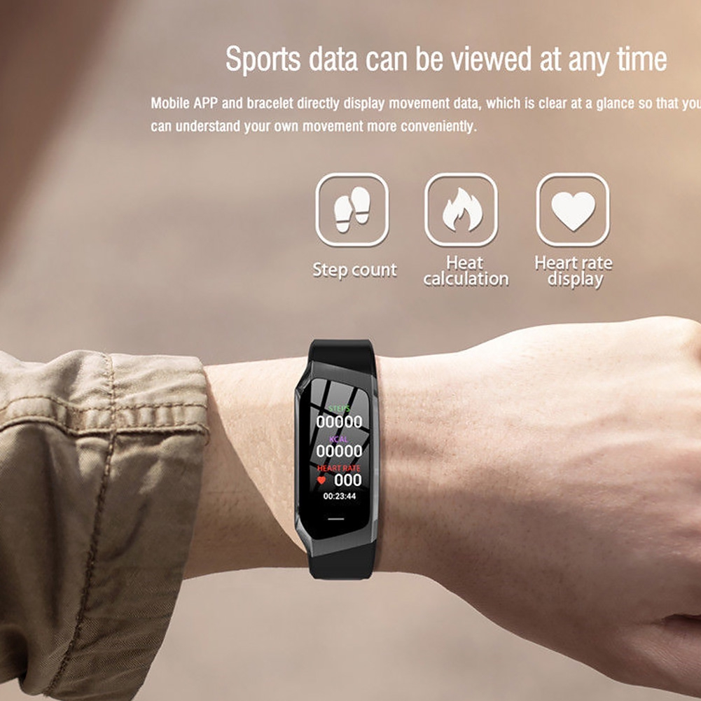 E18 0.96 Inch Alarm Sleep Monitoring IP68 Waterproof Heart Rate Remote Photography Colorful Screen Smart Bracelet