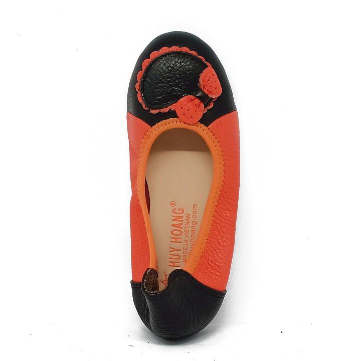 Giày trẻ em nữ Huy Hoàng da bò màu cam phối đen HP7864